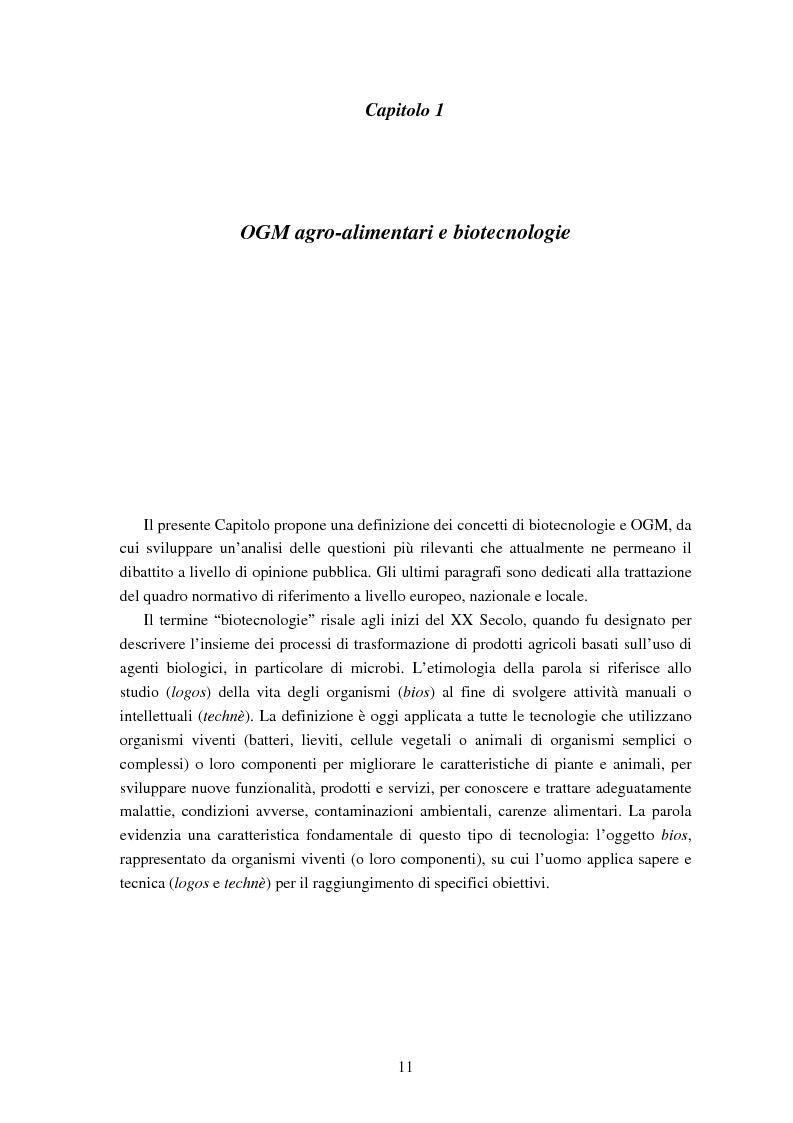 Anteprima della tesi: Le attitudini al consumo di alimenti Geneticamente Modificati: uso dei Modelli a Scelta Discreta per l'analisi del caso Trentino, Pagina 7