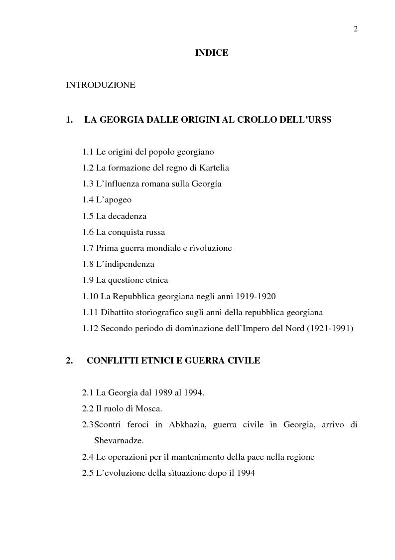 Indice della tesi: Dal collasso ad una lenta rinascita. La Georgia dal 1989 al 2000, Pagina 1