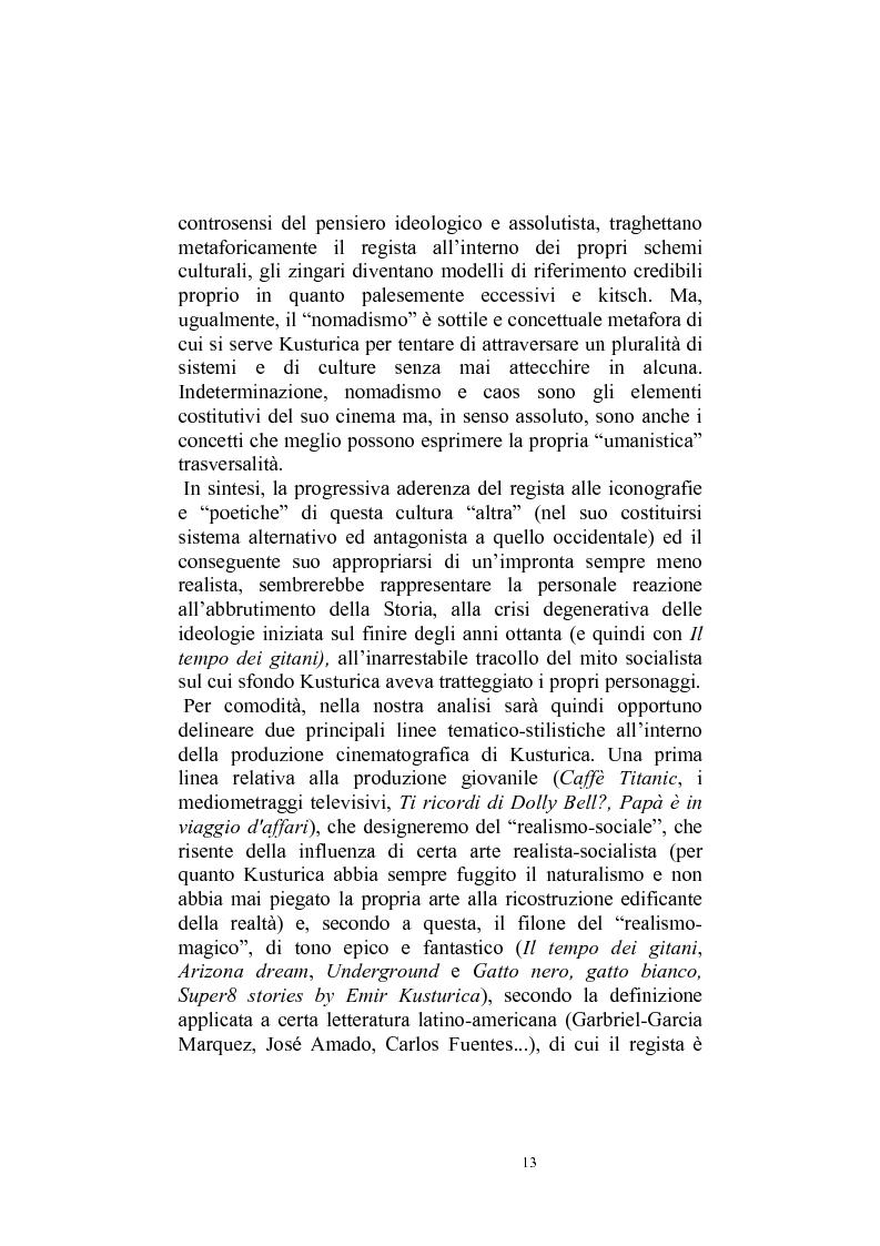 Anteprima della tesi: Umanesimo e nomadismo in Emir Kusturica - L'avventura cinematografica di uno slavo, Pagina 10