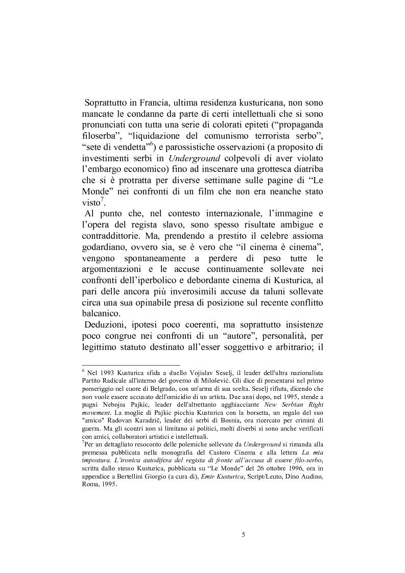 Anteprima della tesi: Umanesimo e nomadismo in Emir Kusturica - L'avventura cinematografica di uno slavo, Pagina 2