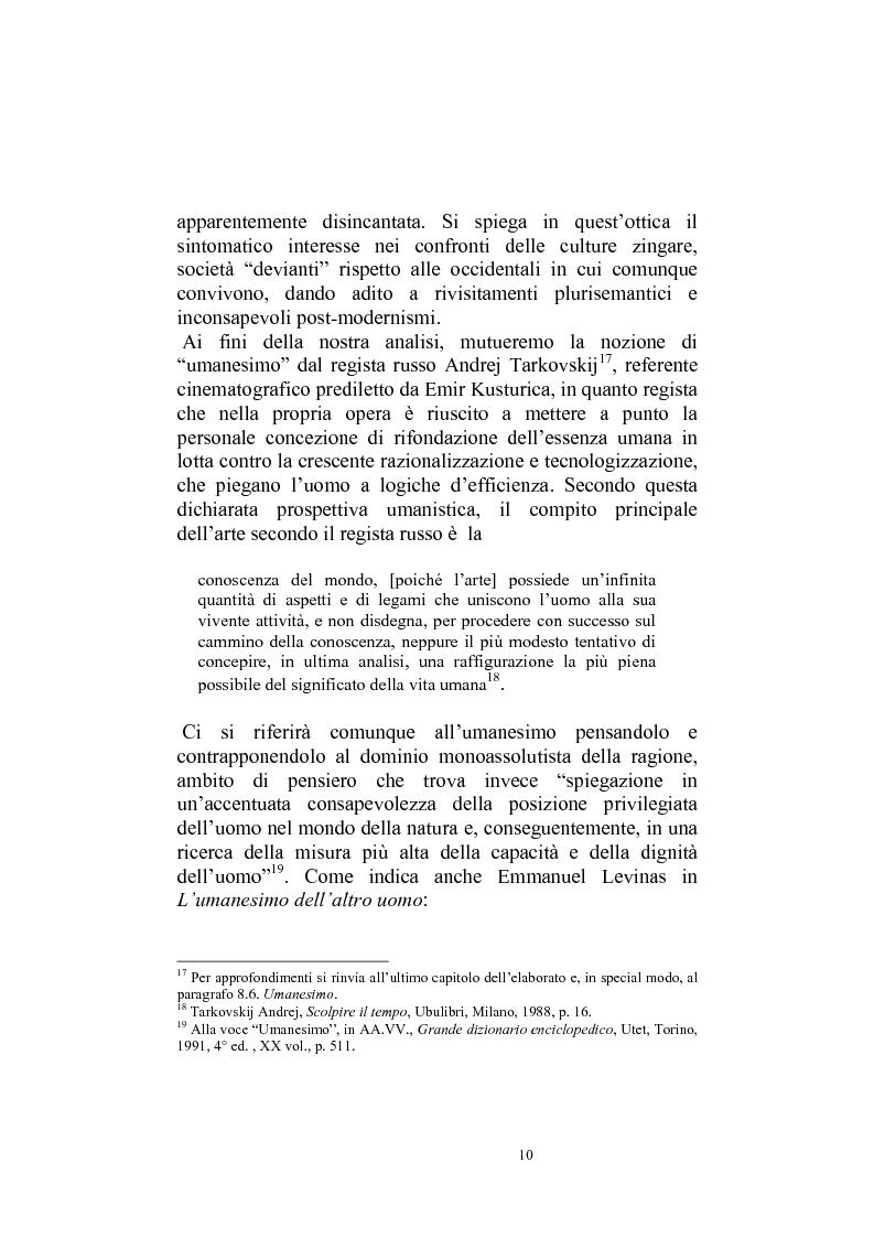 Anteprima della tesi: Umanesimo e nomadismo in Emir Kusturica - L'avventura cinematografica di uno slavo, Pagina 7