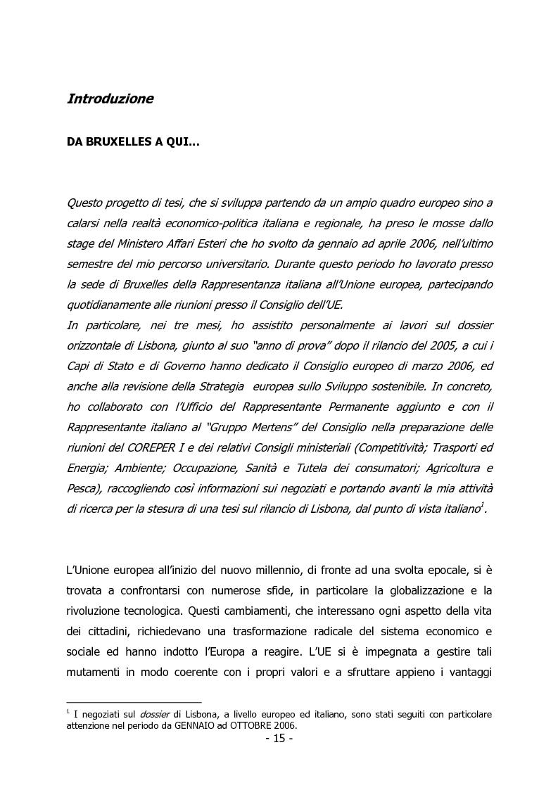 Anteprima della tesi: L'Italia e il rilancio della Strategia di Lisbona - Il caso della Regione Veneto, Pagina 1