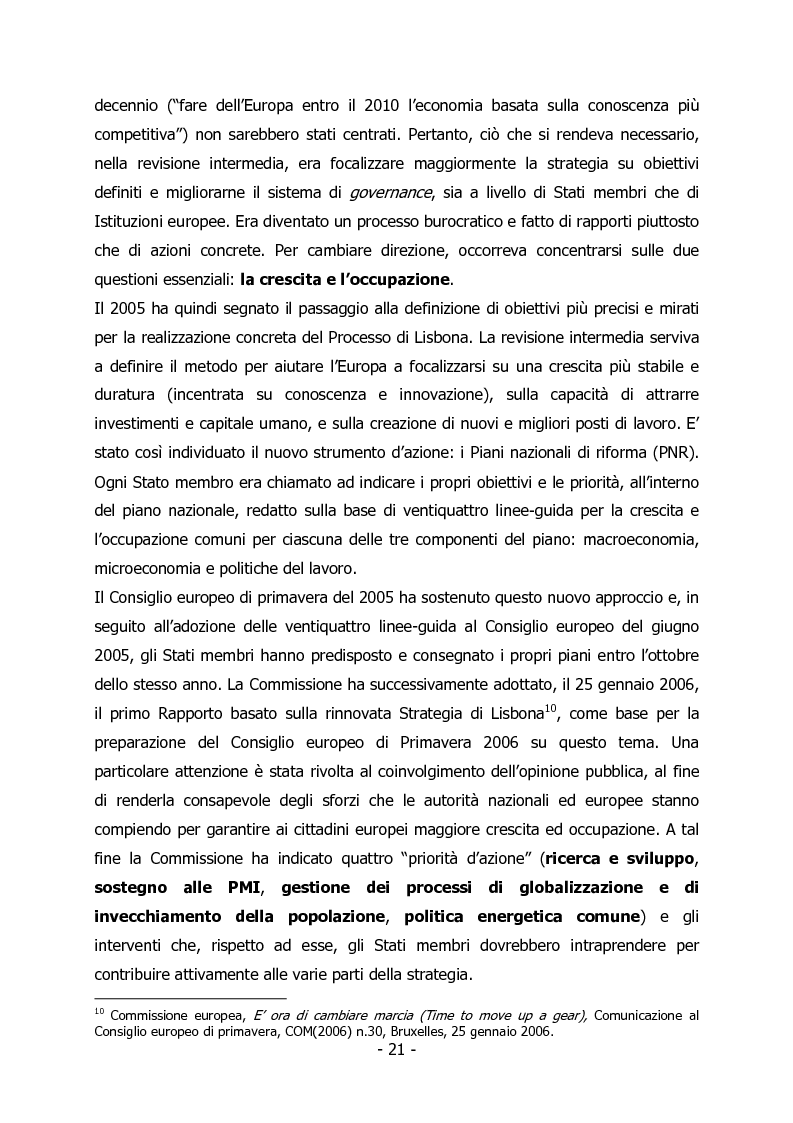 Anteprima della tesi: L'Italia e il rilancio della Strategia di Lisbona - Il caso della Regione Veneto, Pagina 7