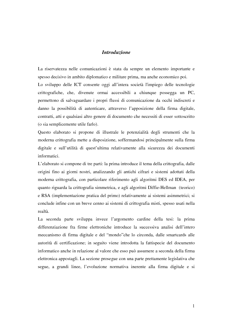 Anteprima della tesi: Firma digitale e sicurezza dei documenti informatici, Pagina 1