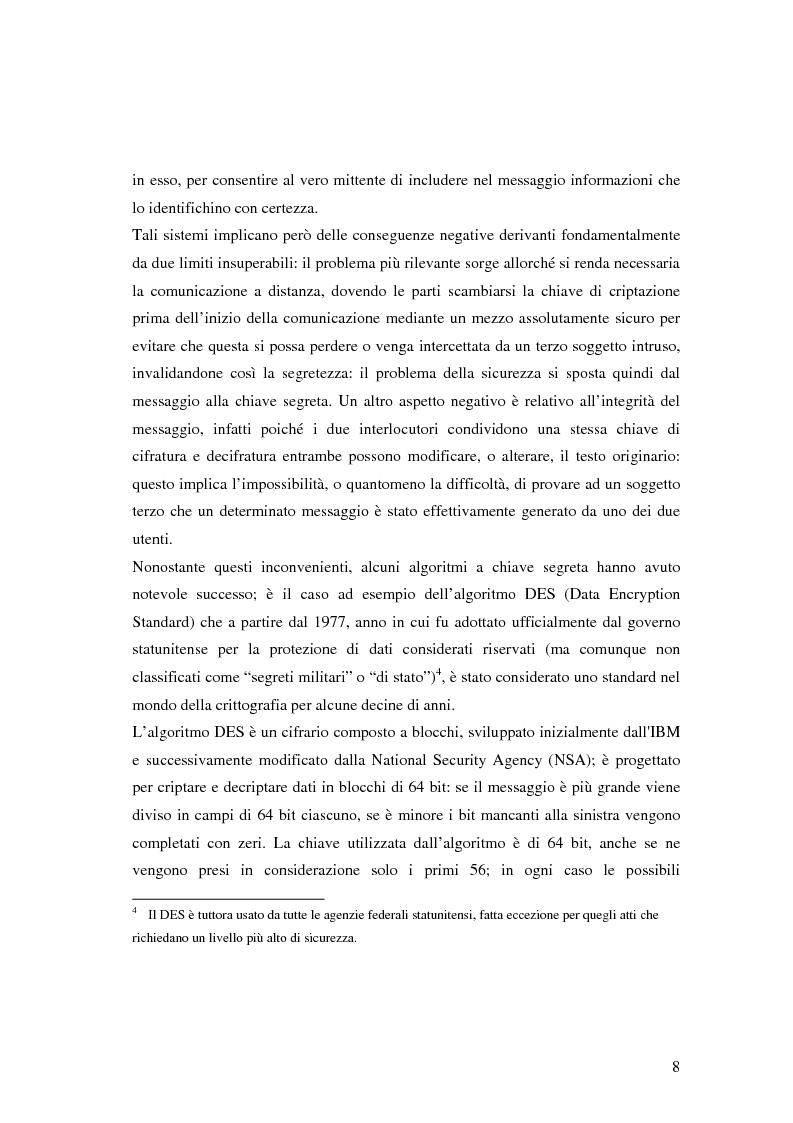 Anteprima della tesi: Firma digitale e sicurezza dei documenti informatici, Pagina 8