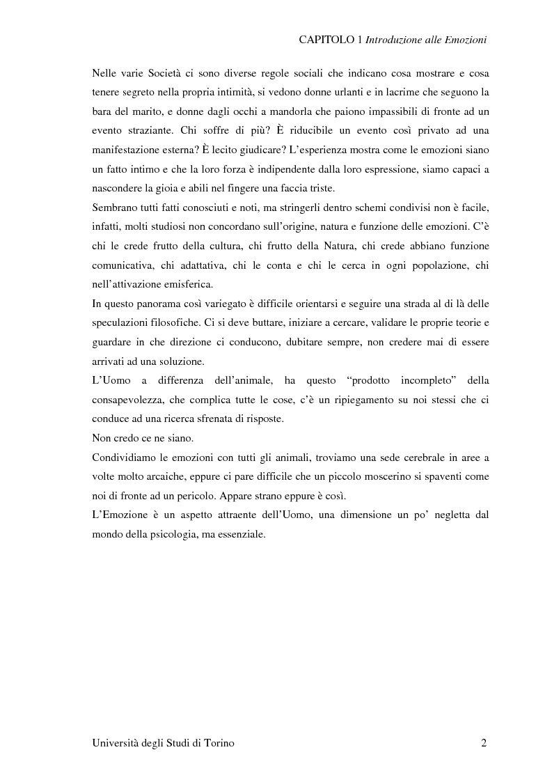 Anteprima della tesi: Attivazione ed interazione corticale nelle emozioni primarie, Pagina 2