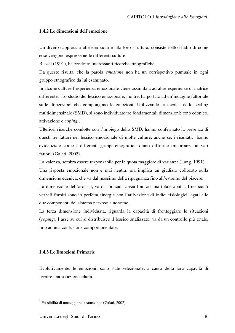 Anteprima della tesi: Attivazione ed interazione corticale nelle emozioni primarie, Pagina 8