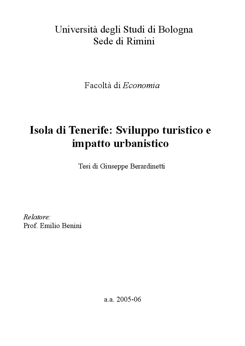 Anteprima della tesi: Isola di Tenerife: Sviluppo turistico e impatto urbanistico, Pagina 1