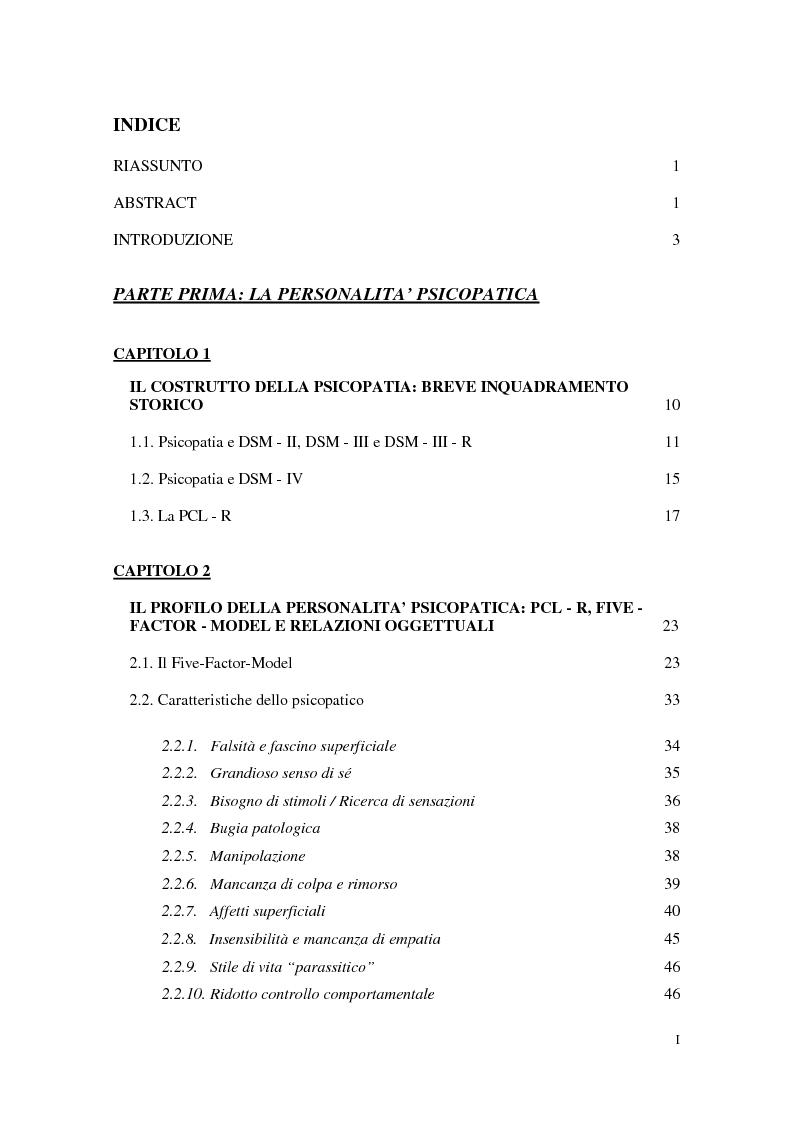 Indice della tesi: Personalità e dinamiche violente: sadismo, psicopatia e perversione sadomasochistica, Pagina 1