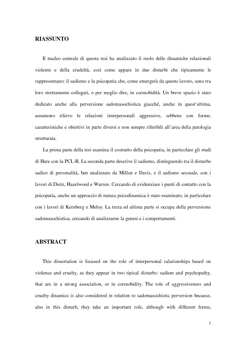 Anteprima della tesi: Personalità e dinamiche violente: sadismo, psicopatia e perversione sadomasochistica, Pagina 1