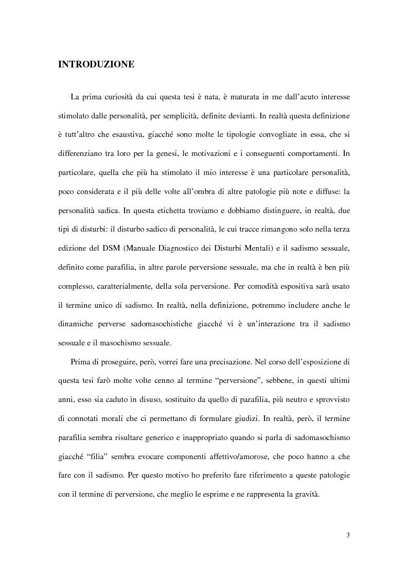 Anteprima della tesi: Personalità e dinamiche violente: sadismo, psicopatia e perversione sadomasochistica, Pagina 3