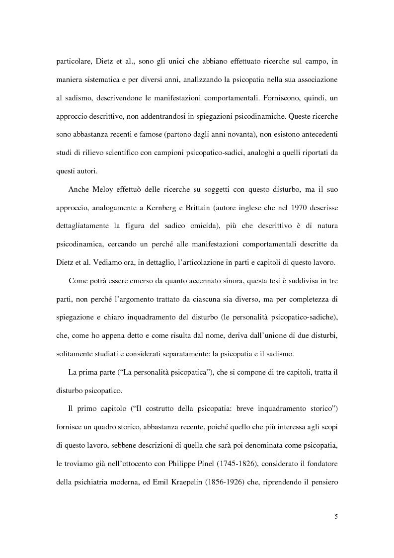 Anteprima della tesi: Personalità e dinamiche violente: sadismo, psicopatia e perversione sadomasochistica, Pagina 5