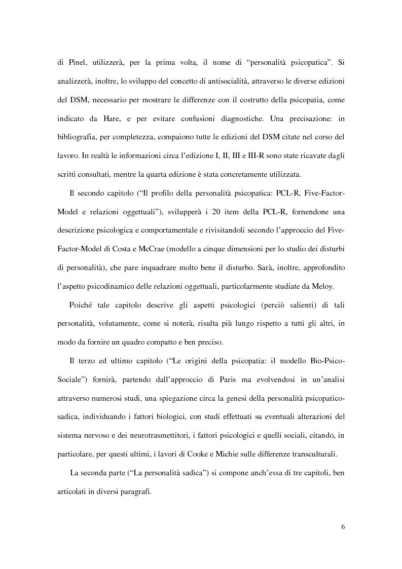 Anteprima della tesi: Personalità e dinamiche violente: sadismo, psicopatia e perversione sadomasochistica, Pagina 6