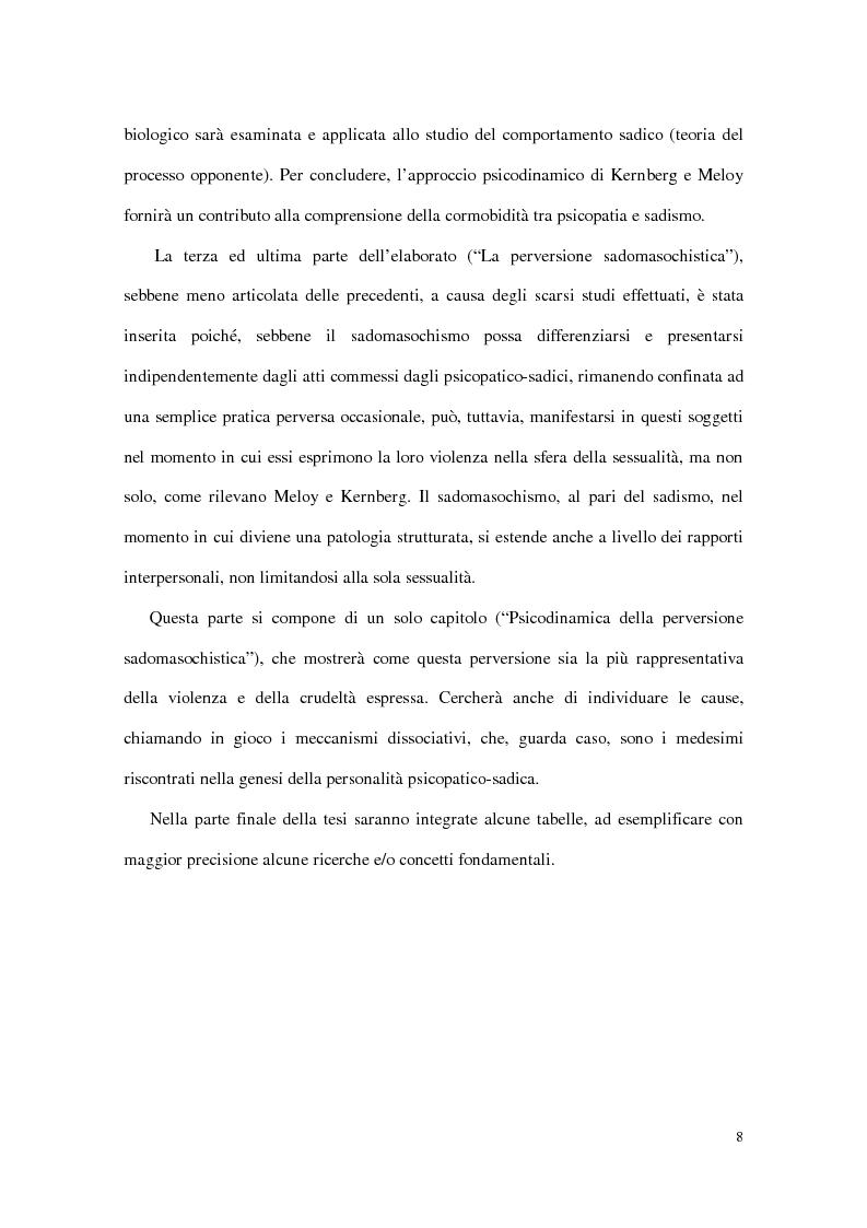 Anteprima della tesi: Personalità e dinamiche violente: sadismo, psicopatia e perversione sadomasochistica, Pagina 8