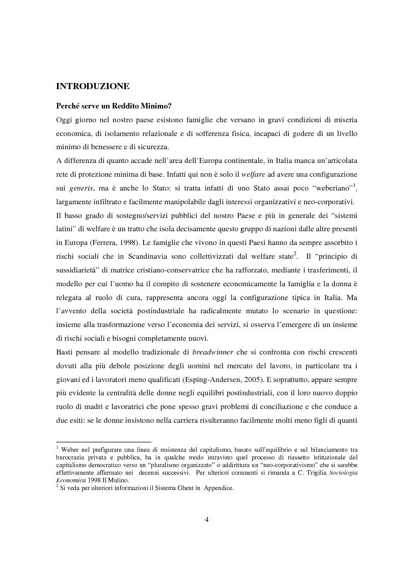 Anteprima della tesi: Reddito minimo di inserimento un'occasione mancata, Pagina 1