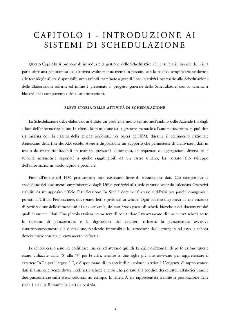 Anteprima della tesi: Analisi e Progetto di un Ambiente Integrato per la Schedulazione di Elaborazioni Orientato alla gestione dei Sistemi Informativi di una Azienda Commerciale, Pagina 1
