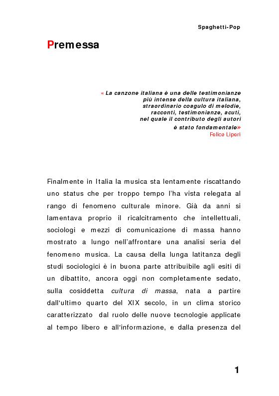 Anteprima della tesi: ''Spaghetti-pop''. Il caso Pausini e il successo internazionale dei cantanti italiani. Fenomenologia e processi comunicativi della musica leggera italiana., Pagina 1