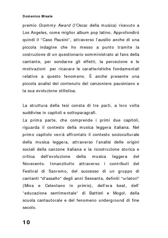 Anteprima della tesi: ''Spaghetti-pop''. Il caso Pausini e il successo internazionale dei cantanti italiani. Fenomenologia e processi comunicativi della musica leggera italiana., Pagina 10