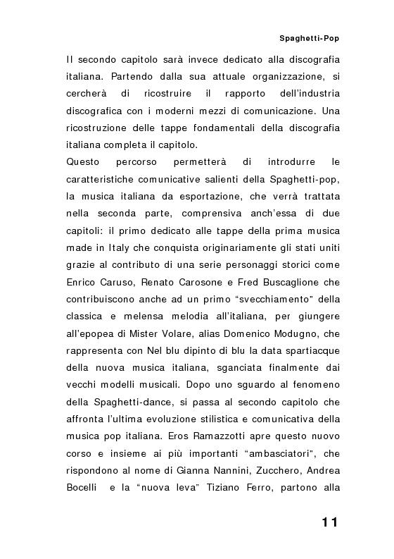 Anteprima della tesi: ''Spaghetti-pop''. Il caso Pausini e il successo internazionale dei cantanti italiani. Fenomenologia e processi comunicativi della musica leggera italiana., Pagina 11
