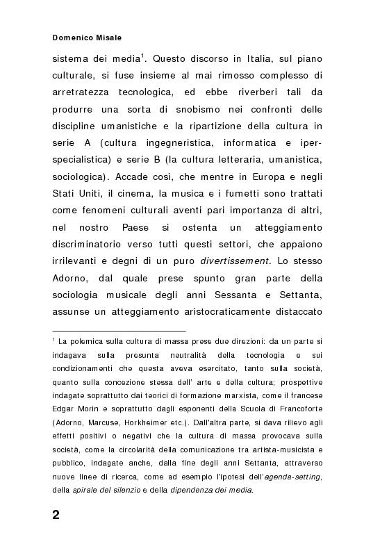 Anteprima della tesi: ''Spaghetti-pop''. Il caso Pausini e il successo internazionale dei cantanti italiani. Fenomenologia e processi comunicativi della musica leggera italiana., Pagina 2