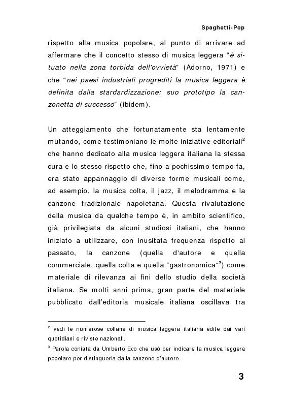 Anteprima della tesi: ''Spaghetti-pop''. Il caso Pausini e il successo internazionale dei cantanti italiani. Fenomenologia e processi comunicativi della musica leggera italiana., Pagina 3