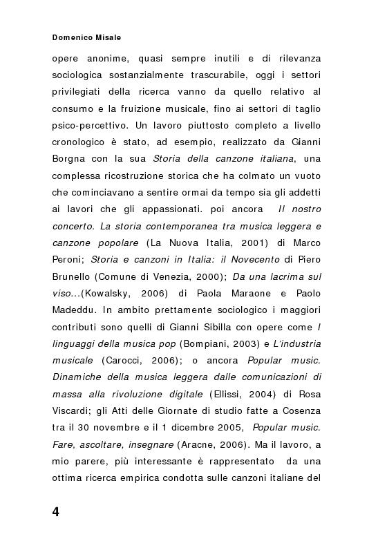 Anteprima della tesi: ''Spaghetti-pop''. Il caso Pausini e il successo internazionale dei cantanti italiani. Fenomenologia e processi comunicativi della musica leggera italiana., Pagina 4