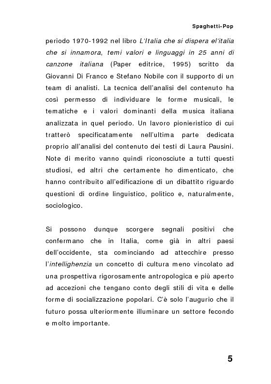 Anteprima della tesi: ''Spaghetti-pop''. Il caso Pausini e il successo internazionale dei cantanti italiani. Fenomenologia e processi comunicativi della musica leggera italiana., Pagina 5