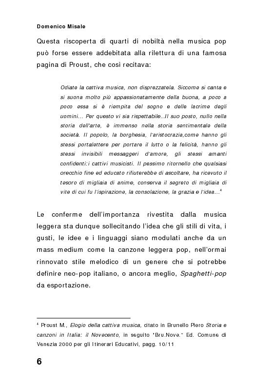 Anteprima della tesi: ''Spaghetti-pop''. Il caso Pausini e il successo internazionale dei cantanti italiani. Fenomenologia e processi comunicativi della musica leggera italiana., Pagina 6