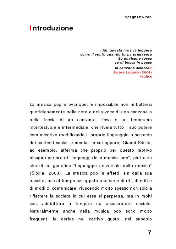 Anteprima della tesi: ''Spaghetti-pop''. Il caso Pausini e il successo internazionale dei cantanti italiani. Fenomenologia e processi comunicativi della musica leggera italiana., Pagina 7