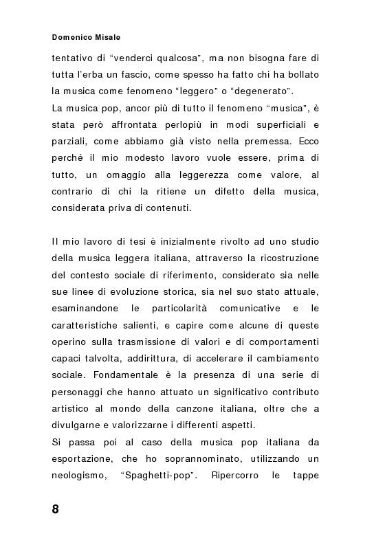 Anteprima della tesi: ''Spaghetti-pop''. Il caso Pausini e il successo internazionale dei cantanti italiani. Fenomenologia e processi comunicativi della musica leggera italiana., Pagina 8