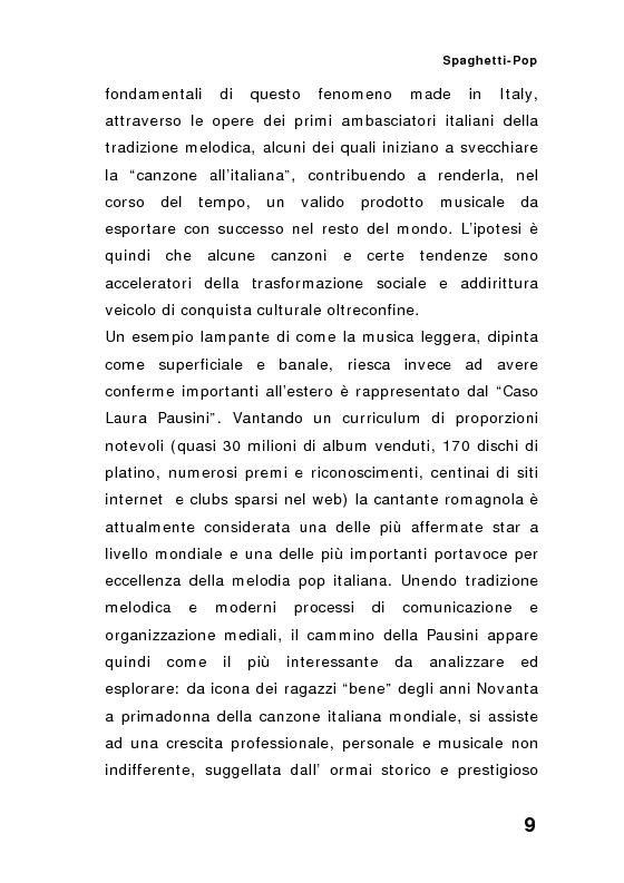 Anteprima della tesi: ''Spaghetti-pop''. Il caso Pausini e il successo internazionale dei cantanti italiani. Fenomenologia e processi comunicativi della musica leggera italiana., Pagina 9
