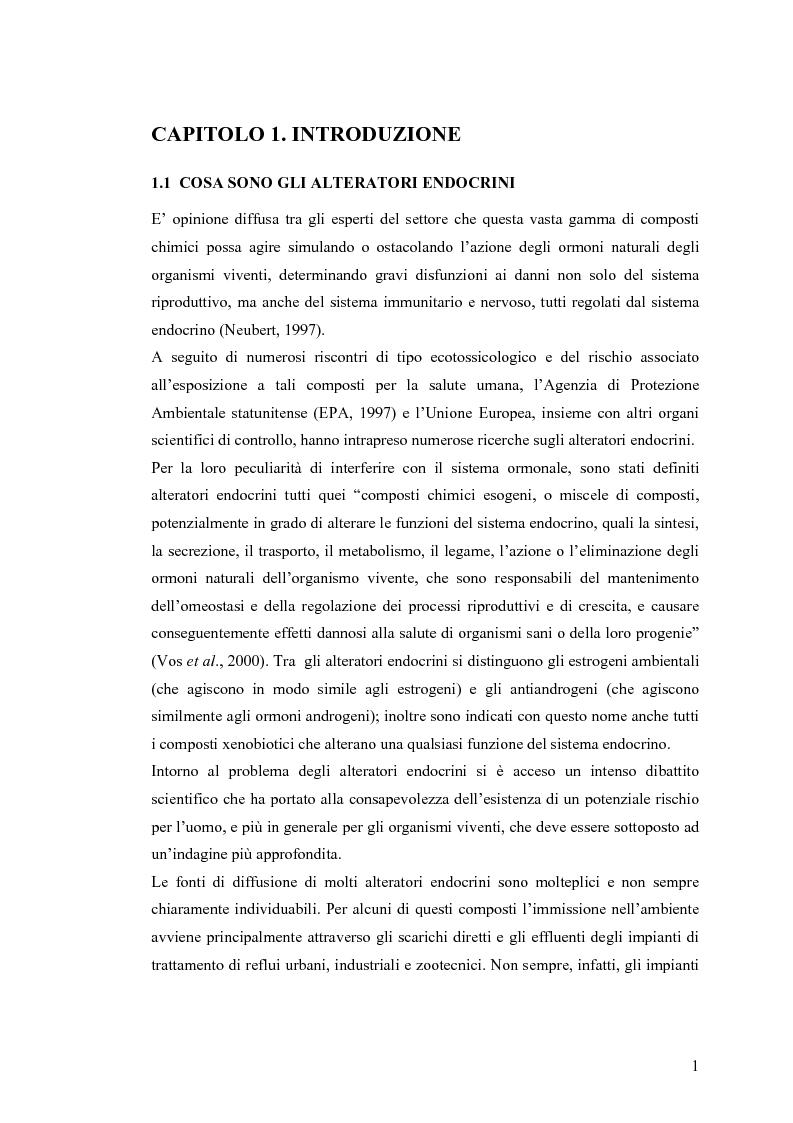 Anteprima della tesi: Interazione tra un alteratore endocrino riconosciuto, il nonilfenolo, e la comunità microbica di un refluo urbano., Pagina 1