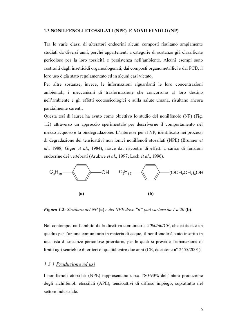 Anteprima della tesi: Interazione tra un alteratore endocrino riconosciuto, il nonilfenolo, e la comunità microbica di un refluo urbano., Pagina 6