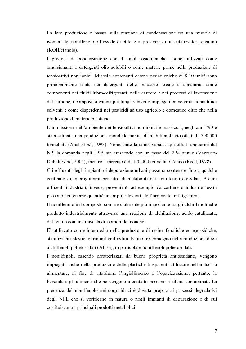 Anteprima della tesi: Interazione tra un alteratore endocrino riconosciuto, il nonilfenolo, e la comunità microbica di un refluo urbano., Pagina 7