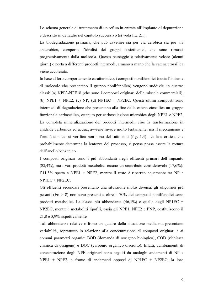 Anteprima della tesi: Interazione tra un alteratore endocrino riconosciuto, il nonilfenolo, e la comunità microbica di un refluo urbano., Pagina 9