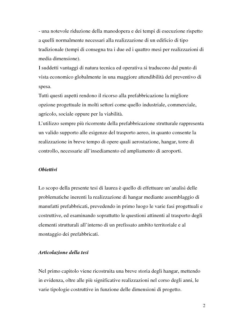 Anteprima della tesi: Hangar prefabbricato per il Boeing 737-300. Problematiche del trasporto e del montaggio, Pagina 2