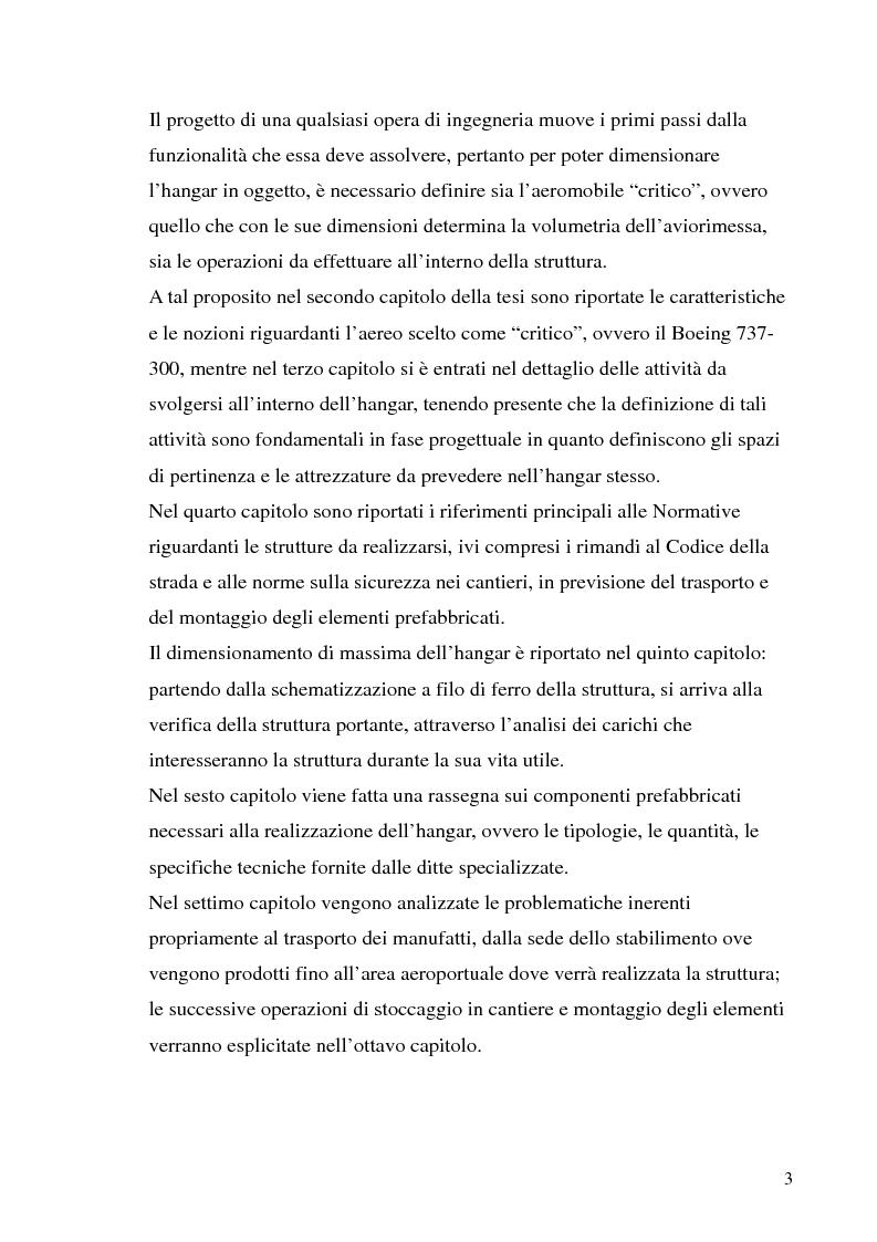 Anteprima della tesi: Hangar prefabbricato per il Boeing 737-300. Problematiche del trasporto e del montaggio, Pagina 3