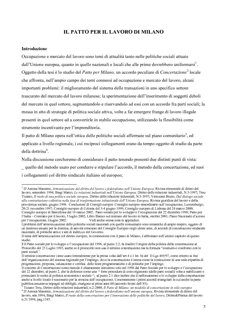 Anteprima della tesi: Il patto per il lavoro di Milano, Pagina 1