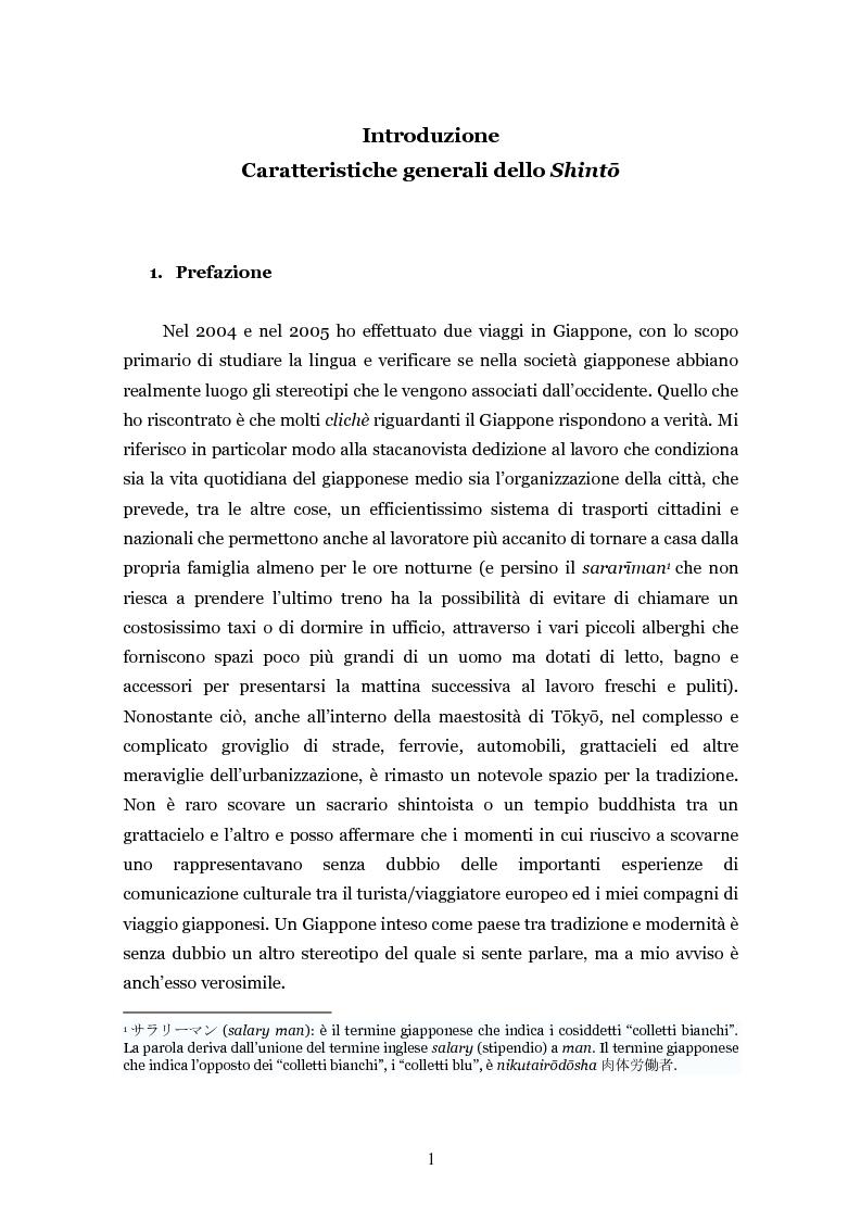 Anteprima della tesi: Lo shintoismo ieri e oggi, Pagina 1