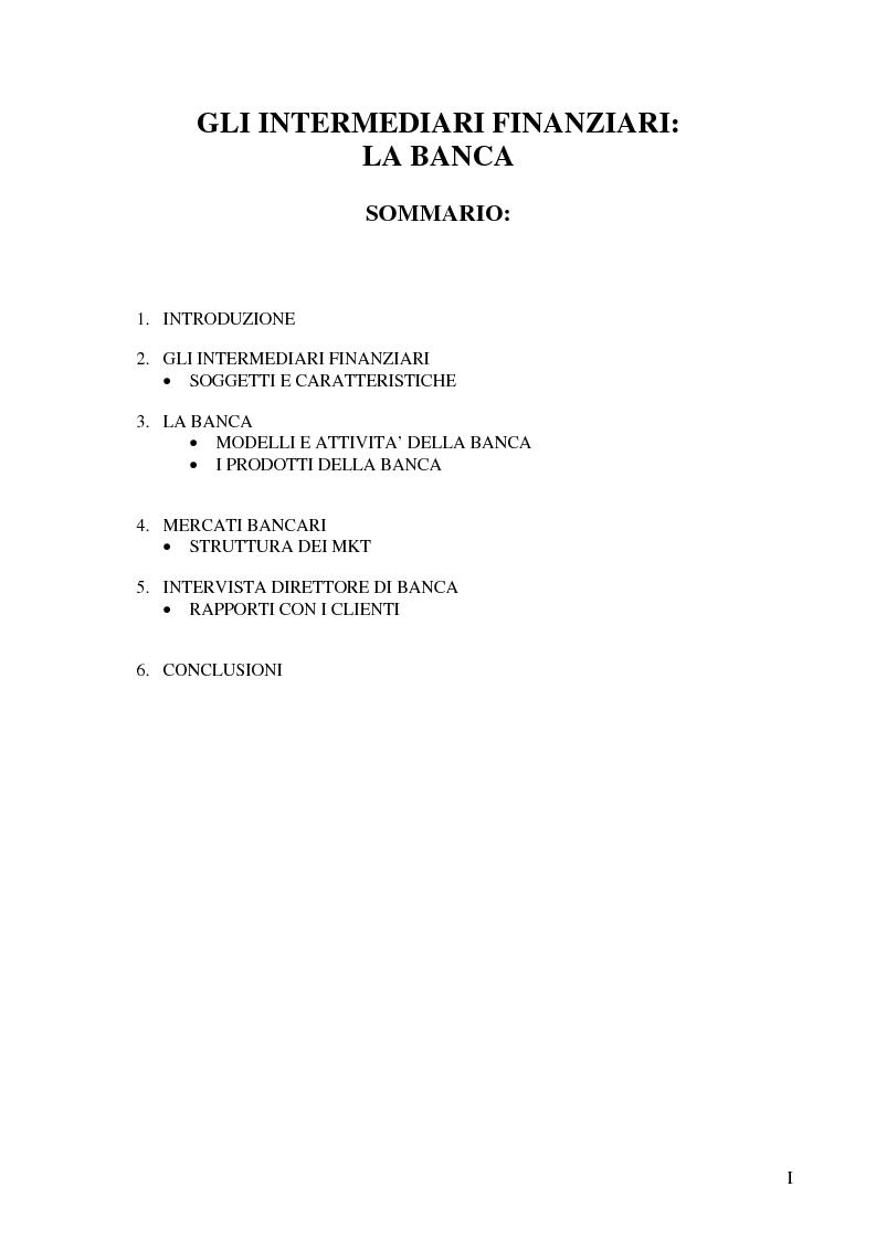 Indice della tesi: Gli Intermediari Finanziari: La Banca, Pagina 1