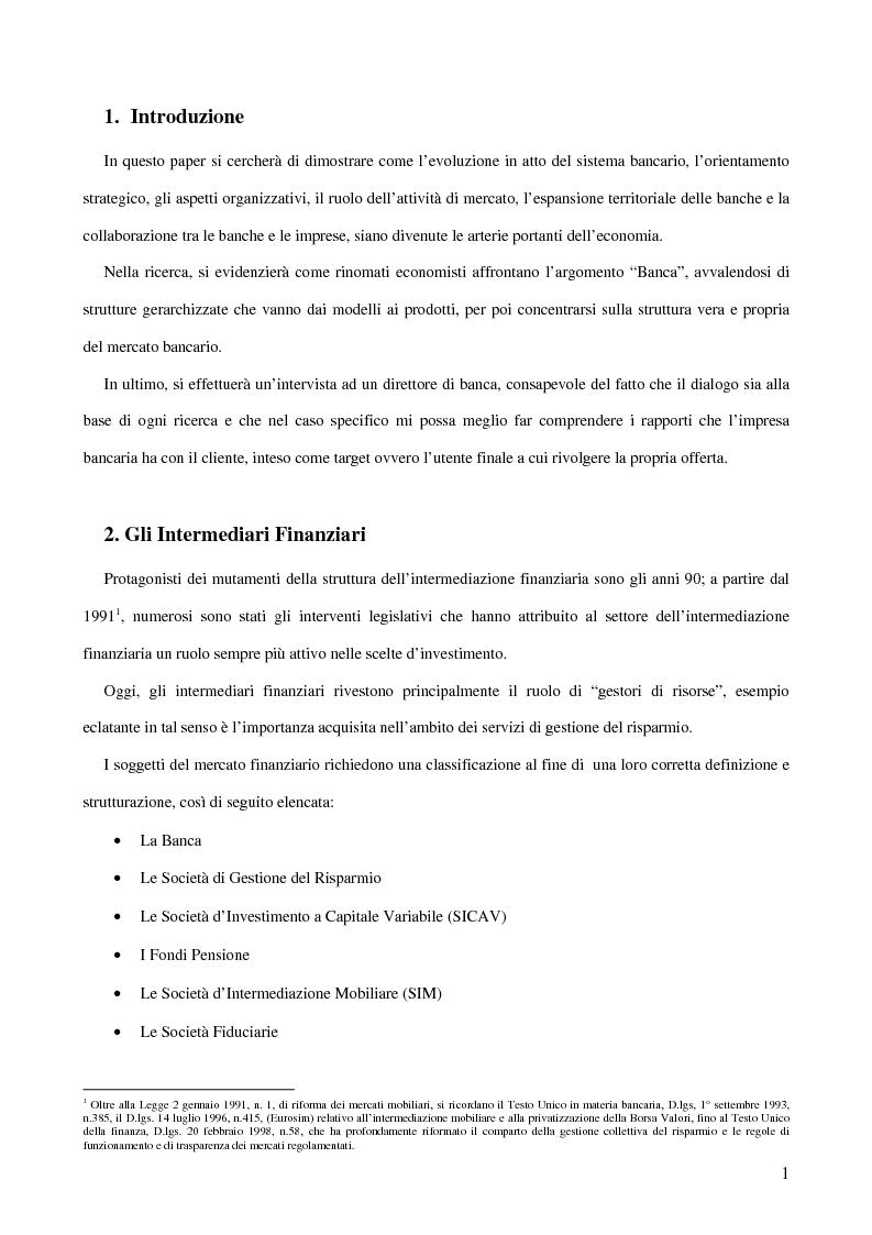 Anteprima della tesi: Gli Intermediari Finanziari: La Banca, Pagina 1