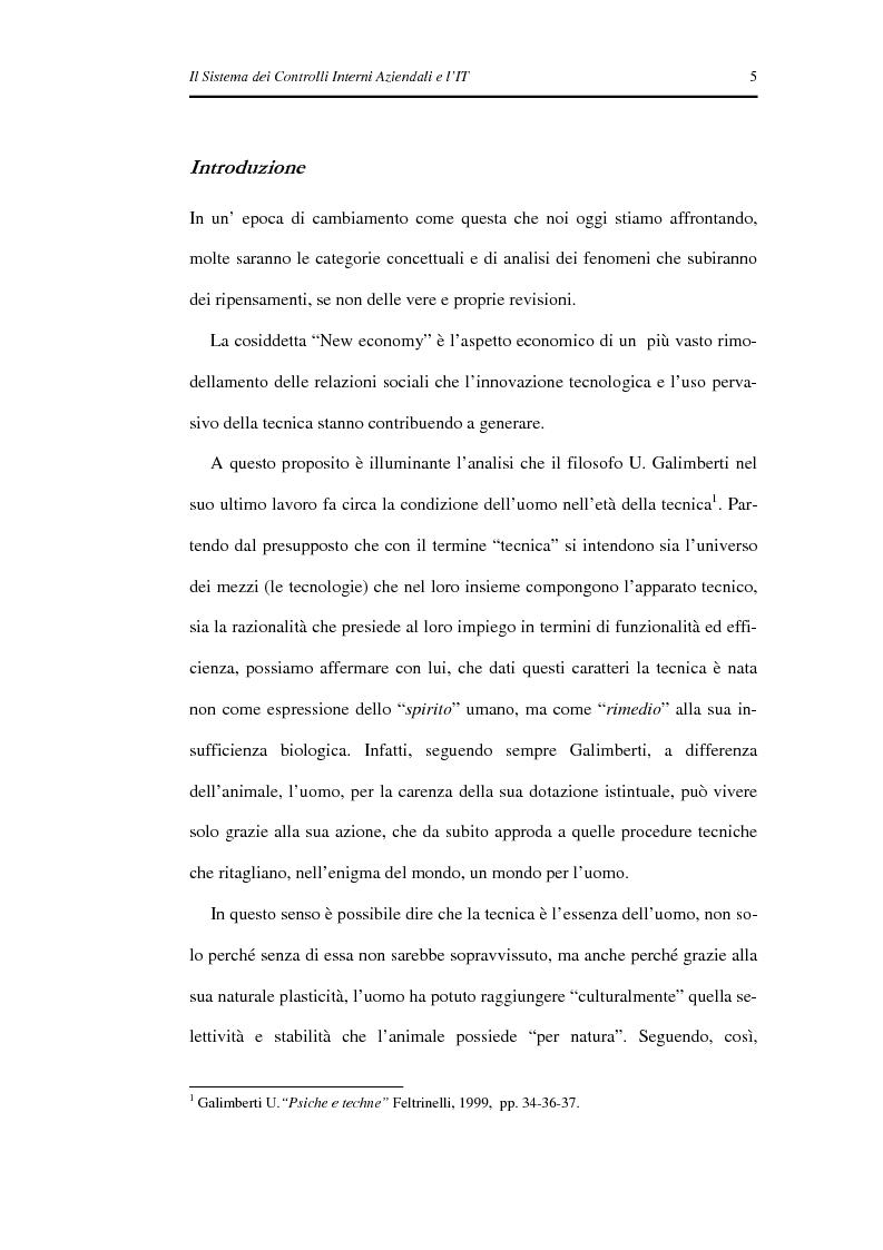 Anteprima della tesi: Il Sistema dei Controlli Interni Aziendali e l'IT, Pagina 1