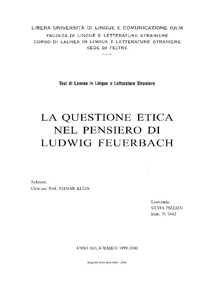 Anteprima della tesi: La questione etica nel pensiero di Ludwig Feuerbach, Pagina 1