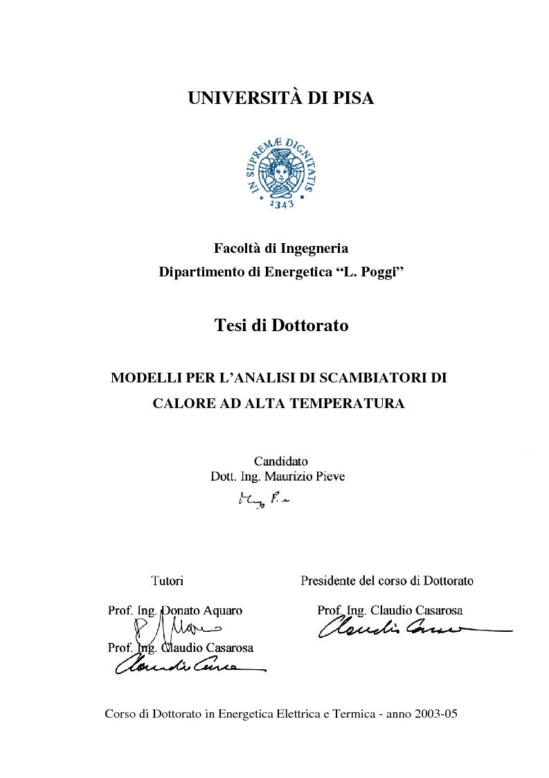 Anteprima della tesi: Modelli per l'analisi di scambiatori di calore ad alta temperatura, Pagina 1