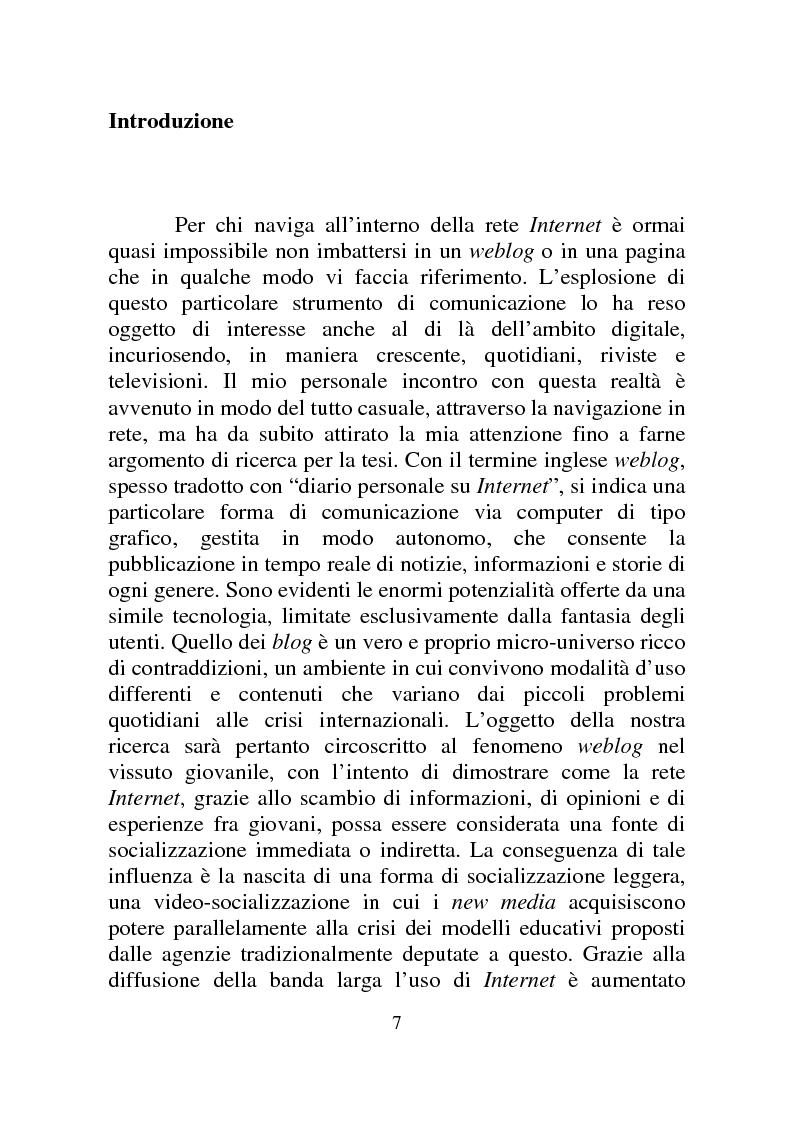 Anteprima della tesi: Weblog: diari senza lucchetti. Quando l'intimo diviene pubblico., Pagina 1