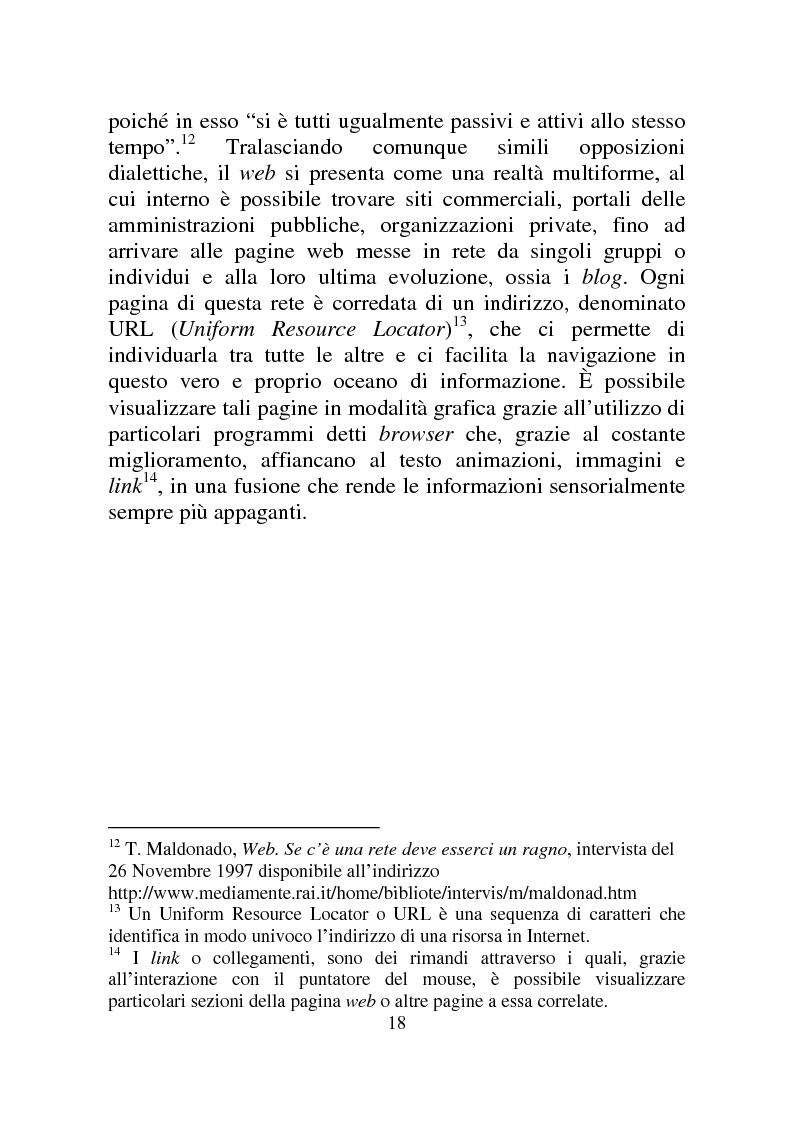 Anteprima della tesi: Weblog: diari senza lucchetti. Quando l'intimo diviene pubblico., Pagina 12