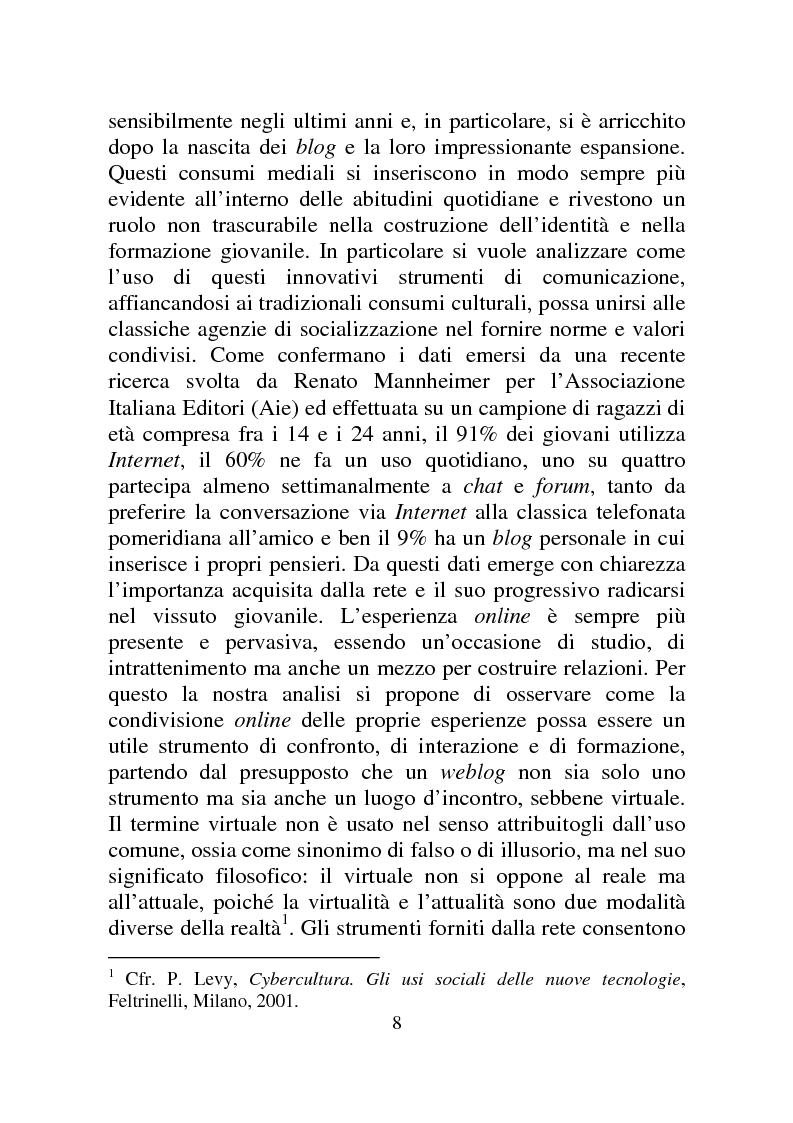 Anteprima della tesi: Weblog: diari senza lucchetti. Quando l'intimo diviene pubblico., Pagina 2