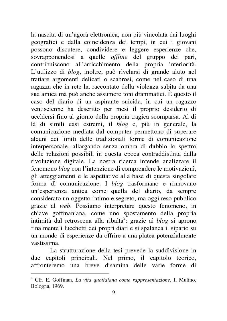 Anteprima della tesi: Weblog: diari senza lucchetti. Quando l'intimo diviene pubblico., Pagina 3