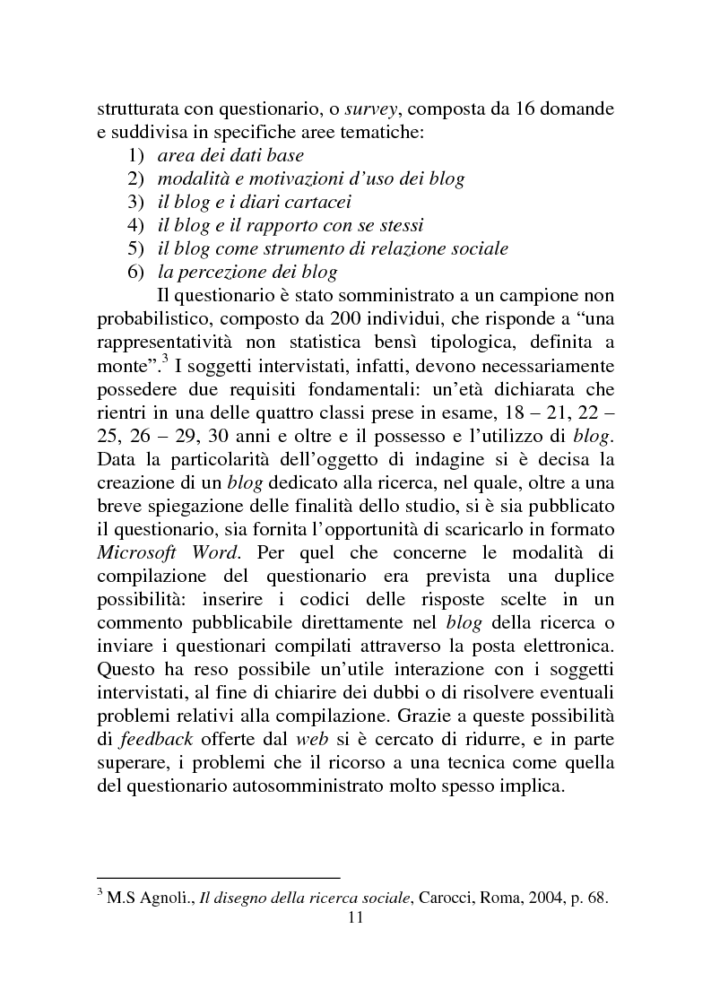 Anteprima della tesi: Weblog: diari senza lucchetti. Quando l'intimo diviene pubblico., Pagina 5