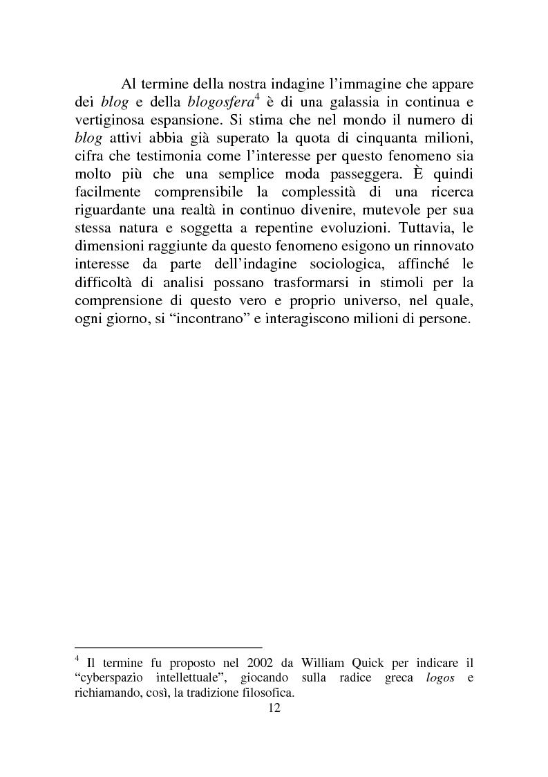 Anteprima della tesi: Weblog: diari senza lucchetti. Quando l'intimo diviene pubblico., Pagina 6
